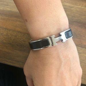 100%authentic Hermes Clic H bracelet black/silver